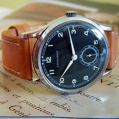 Mens-Vintage-Swiss-Made-LONGINES-CLASSI-watch-1960-BLACK-DIAL-17-JEWELS-MOVEMENT