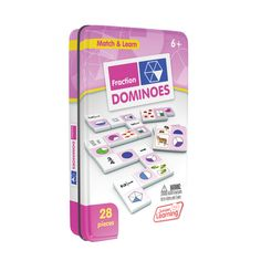 Junior Learning Long Vowel Dominoes Match and Learn Educational Learning Game - Multi Learning Games For Kids, Learning Time, Early Learning, Learning Fractions, Maths, Fraction Games, Short Vowels, Vowel Sounds, Matching Games