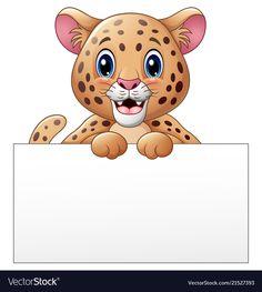 Cartoon cheetah with blank sign vector image on VectorStock Alfabeto Animal, Artsy Background, Boarder Designs, Notebook Cover Design, Blank Sign, School Frame, Islamic Cartoon, School Clipart, Disney Scrapbook Pages