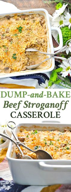 Dump-and-Bake Beef Stroganoff Casserole is an easy dinner recipe that the family will love -- and you don't even have to boil the pasta! Dinner Ideas | Pasta Recipes | Beef Recipes | One Dish