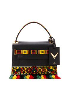 V303G Valentino My Rockstud Small Jamaican Top-Handle Satchel Bag, Black Multi