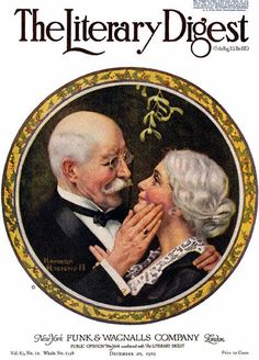 "1919-12-20, The Literary Digest Norman Rockwell cover ""Under the Mistletoe"""
