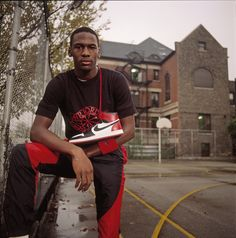 Michael Jordan's first Nike signature sneaker became a topic of discussion when when the NBA banned the sneaker from the court. Defying the ban, Jordan pla Street Basketball, Jordan Basketball, Love And Basketball, Basketball Art, Basketball Legends, Nba Players, Basketball Players, Jeffrey Jordan, Jordan 23