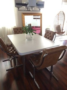 Mid Century Daystrom Vinyl And Chrome Lounge Chairs Set Of 4 Dining Table