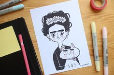 Hey, I found this really awesome Etsy listing at https://www.etsy.com/listing/206347554/frida-and-kahlo-print