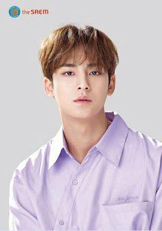 Seventeen x The Saem HK Official Poster (i edited w/ remin* because it's kinda blurry) Woozi, The8, Mingyu Wonwoo, Seungkwan, Vernon, Hip Hop, Kim Min Gyu, Mingyu Seventeen, Korean Boy