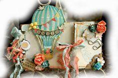 ELITE4U Reneabouquets Premade Shabby Chic Scrapbook Album Prima Hot Air Balloon | eBay