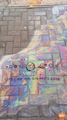 Lip like the galaxy' edge // Arctic Monkeys Quote Sidewalk Chalk Art, Rainbow Aesthetic, Aesthetic Galaxy, Aesthetic Space, Witch Aesthetic, Imagine Dragons, Oeuvre D'art, Belle Photo, Aesthetic Wallpapers