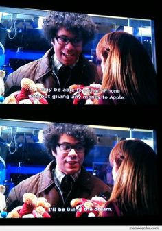 At least he has ambitions. The crazy dreamer that is, Maurice Moss. Movies Showing, Movies And Tv Shows, Richard Ayoade, Fools And Horses, The Mighty Boosh, It Crowd, You Funny, Hilarious, British Comedy