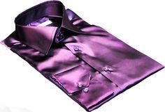 Chemise violet prune en satin, chemise homme de cérémonie et soirée ...