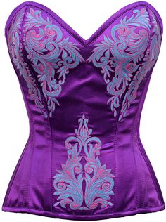 Violet Duchess Purple-Blue Embroidered Corset NS-WT542