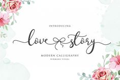 Lovestory is a gorgeous way to celebrate all things love. This gorgeous and romantic script is full of love and. Handwritten Fonts, Calligraphy Fonts, Modern Calligraphy, Script Fonts, All Fonts, Calligraphy Alphabet, Wedding Fonts, Wedding Invitations, Romantic Fonts