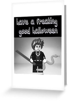 """""""""""Have a Freaking Good Halloween"""" Custom LEGO® Evil Magician Greeting Card, by 'Customize My Minifig'"""" Greeting Cards & Postcards by Chillee 