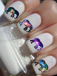 Galaxy Elephant Nail Decals by PineGalaxy on Etsy Get Nails, Love Nails, Pretty Nails, Hair And Nails, Elephant Nails, Elephant Stuff, Elephant Print, Nail Art Designs, Nagel Tattoo