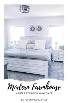 Modern farmhouse bedroom makeover with farmhouse style bedroom decor ideas Farmhouse Style Bedrooms, French Farmhouse Decor, Farmhouse Master Bedroom, Master Bedroom Makeover, Farmhouse Style Decorating, Farmhouse Ideas, Vintage Farmhouse, White Pillows, Bed Furniture