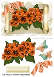 Pretty orange flowers on a scroll with butterflies   bow on Craftsuprint - View…
