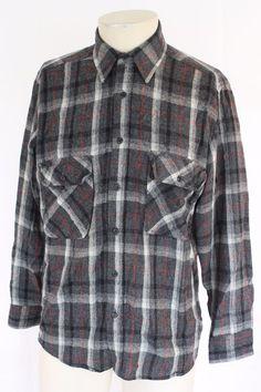 f655b4c653e Vtg FIELDMASTER Wool Blend Gray White Red Flannel Shirt Mens MEDIUM Grunge  90s  Fieldmaster  ButtonFront