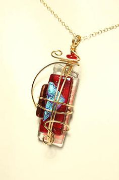 fused glass clock | Antique Style Fused Glass Pendant by Meko Designs