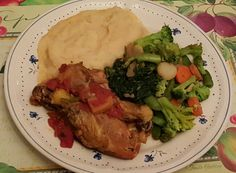 Tonight's dinner: Crock Pot Chicken w/tomatoes & pineapples, homemade Parmesan mashed potatoes, spinach and mixed vegetables.