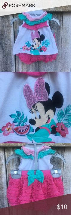 Minnie Mouse Hawaiian Ruffle Shirt Set Like New   Fun Hawaiian Minnie Mouse theme matching set. Has ruffle shorts and sequin Minnie Mouse graphic.   Bundle for additional discounts! Disney Matching Sets