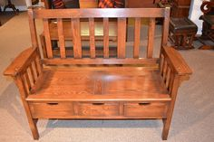 Arts and Crafts Mission Oak Bench with three by OakParkAntiques, $685.00