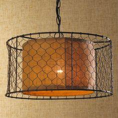 Chicken Wire with Burlap Drum Pendant