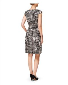 Abstract Print Dress - Jaegar - note back pleat in skirt