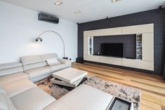 Bright-Bucharest-Residence-TV-Room-Idea-Painted-in-White-and-Grey-Mixed-with-Cream-on-Sectional-Sofa-and-TV-Stand.jpg (690×460)