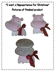 """""""Hippopotamus for Christmas"""" Craft and Write  """"I want a hippopotamus for Christmas...""""   Love it!!!"""