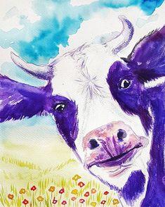 Items similar to Purple Cow original watercolor painting Wall art farm animals nursery decor boy girl kids room farmhouse rural gift for Mother housewarming on Etsy Cow Painting, Watercolor Paintings, Acrylic Paintings, Watercolour, Farm Animal Nursery, Cow Nursery, Purple Cow, Purple Stuff, Nursery Decor Boy