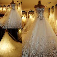 Luxury Rhinestone Wedding Dresses Bling Bling Beaded Crystal V neck