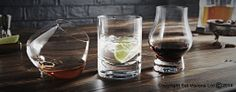 Glass tumblers ready for a G&T shot in our studio