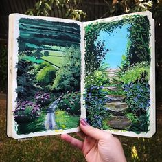 Nature painting by Tara Jane Art Inspo, Kunst Inspo, Kunstjournal Inspiration, Art Journal Inspiration, Aesthetic Painting, Aesthetic Art, Art Et Nature, Arte Sketchbook, Watercolor Sketchbook
