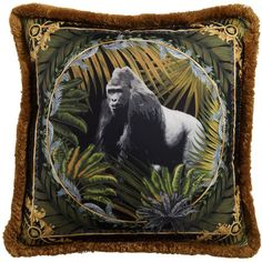 Versace Home Bob Gorilla Printed Silk Accent Pillow (1,365 ILS) ❤ liked on Polyvore featuring home, home decor, throw pillows, versace, silk throw pillows, silk accent pillows, versace home decor and fringed throw pillows