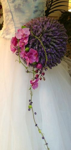 Modern bridal bouquet with lavender and pink orchids - unusual bouquet (5)