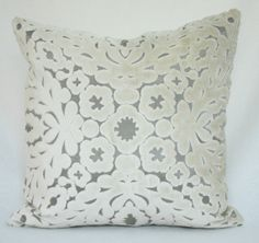 High End French Designer Oyster White Cut Velvet Over Light Pewter 18x18 Decorative Toss Throw Pillow