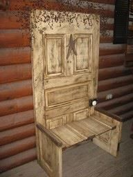 Cool seat made out of old solid wooden door!