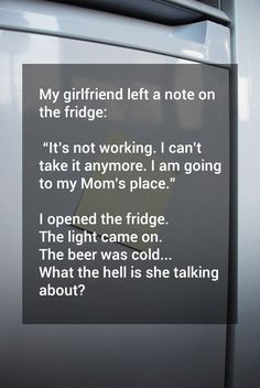 wow i am so stupid. Didn't even notice what this was about until i thought it over a few times. The fridge is working, the relationship isn't. NOW I GET IT
