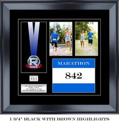 "18"" Wide By 17"" Tall Two Photo Marathon Medal And Bib Display Frame"