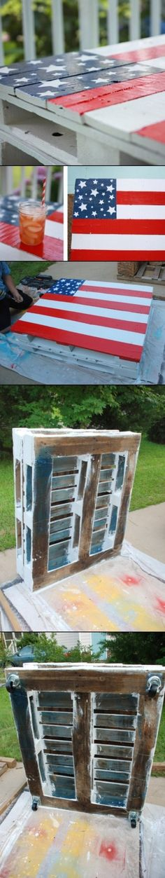 DIY American Flag Colored Pallet Table