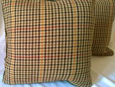 "Ralph Lauren 'DEVON PLAID' Original Brazilian Wool, Mohair Backs Custom Pillow Covers PAIR 14""x14"" by yorkshiredesigns on Etsy"