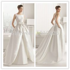 Cheap train favor, Buy Quality dress shirts long sleeve directly from China train vest Suppliers: Simple But Elegant Boat Neck Satin Ball Gown With Bow Sexy Low V-back White Wedding Dress 2014Color chart:1.satin 2