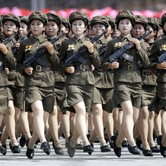 North Korea mounted its largest ever military parade to mark the anniversary of the armistice that ended fighting in the Korean War, displaying its long-range missiles at a ceremony presided over by leader Kim Jong-Un. Inside North Korea, Life In North Korea, South Korea, Korean Military, Military Women, Korean Online, Iranian American, Korean Peninsula, Korean People