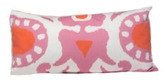 "The pillow is printed on cotton twill and is down filled.  The pillow measures 12"" X 24""."