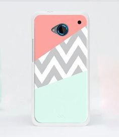 Mint & Coral Chevron Block HTC One M7 case  screen by wangmade, $5.99