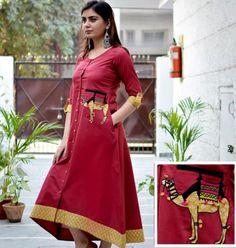 Simple Kurti Designs, Kurta Designs, Blouse Designs, Indian Dresses, Indian Outfits, Ethnic Kurti, Kurta Patterns, Indian Designer Wear, Stylish Dresses