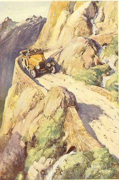 1920s Automobile Motorcar Print Motorcar Touring Alps Mountain Roads Vintage Car…