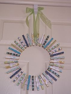 Saw some clothing pins at the dollar store and an idea came to mind. 100 clothing pins for 100 days of school.  You could even make a cute wreath like this one with them.