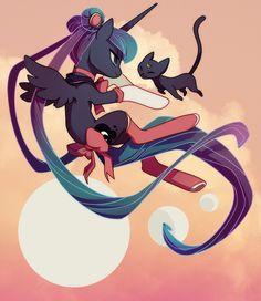 #699072 - alternate hairstyle, artist:sambragg, clothes, crossover, luna (sailor moon), princess luna, safe, sailor moon, socks, tail bow - Derpibooru - My Little Pony: Friendship is Magic Imageboard