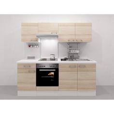 Mit Einbaubackofen EEK: A und Dunstabzugshaube EEK: E ✓ Flex-Well Exclusiv Küchenzeile Akazia 210 cm Akazie Nachbildung-Weiß im OBI Online-Shop kaufen